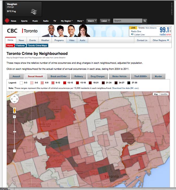 CBC Crime Maps Toronto 2012
