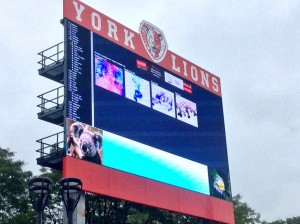 York University Lions Stadium scoreboard
