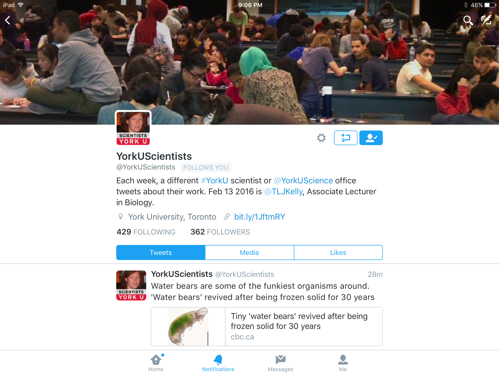 Professor Tamara Kelly's avatar and header photo of students, used for her @YorkUScientists week.