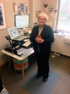 Dawn Bazely at her standing desk