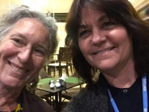 Ellie Perkins (R) and Irena Creed (L) at week 2 of COP22. Photo Credit: Irena Creed.
