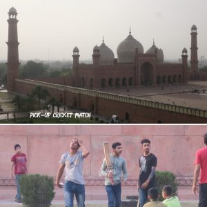 Cricket in the grounds outside Badshahi mosque, Pakistan