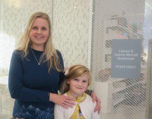 Vic and her daughter at the Lawrie Metcalf Herbarium, Christchurch Botanical Garden