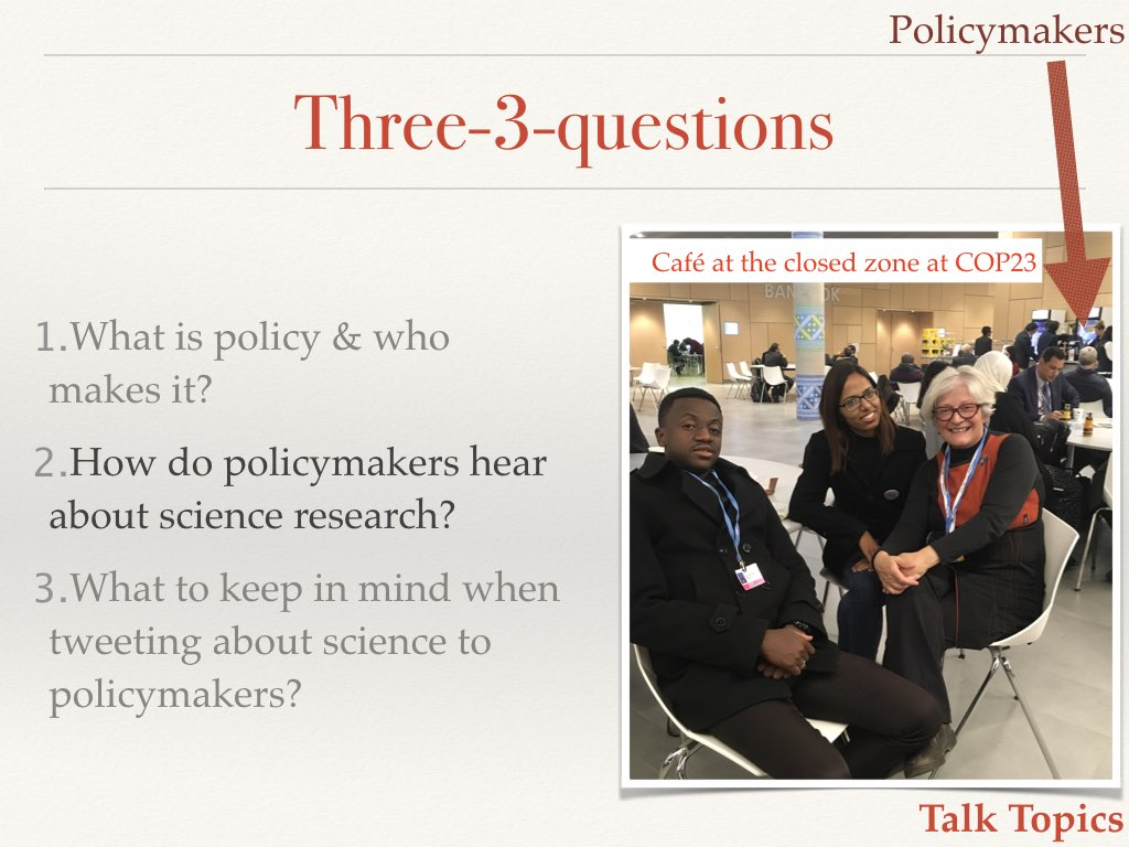 Students at COP23 Slide 8 of my talk on communicating your science to policymakers