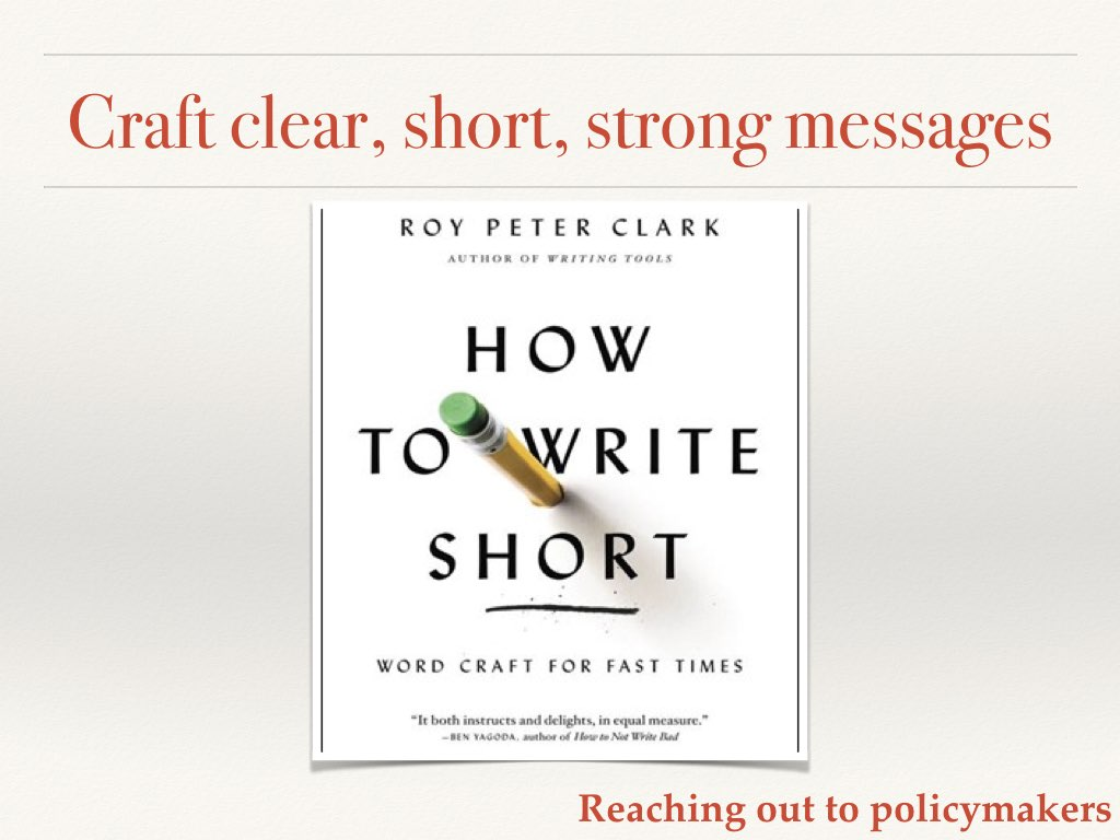 How to write short Slide 15 of my talk on communicating your science to policymakers