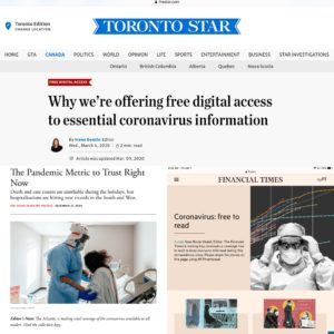 newspapers and magazines giving readers free access to covid-19 articles